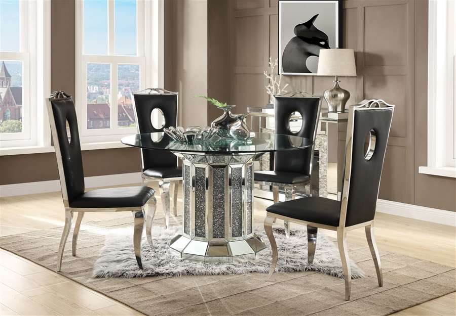 Nie 5 Piece Round Table Dining Room, Mirror Dining Room Table