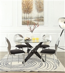 Hagelin 5 Piece Round Table Dining Room Set in Black & Chrome Finish by Acme - 72325