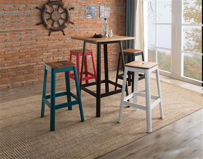 5 Piece Jacotte Bar Table Set with Frosted Teal Bar Stool by Acme - 72330-72333