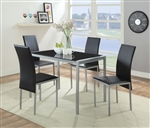 Vallo 5 Piece Dining Room Set in Silver Finish by Acme - 72335