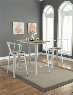 3 Piece Jakia II Bar Table Set with Bar Arm Chair by Acme - 72375-72378