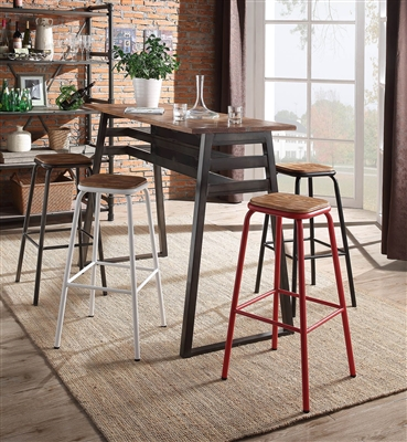 5 Piece Scarus Bar Table Set with Red Bar Stool by Acme - 72385-72388