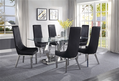 Gianna 7 Piece Dining Room Set with Black PU Chairs by Acme - 72470-72474