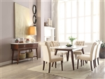 Gasha 7 Piece Dining Room Set in White Marble & Walnut Finish by Acme - 72820