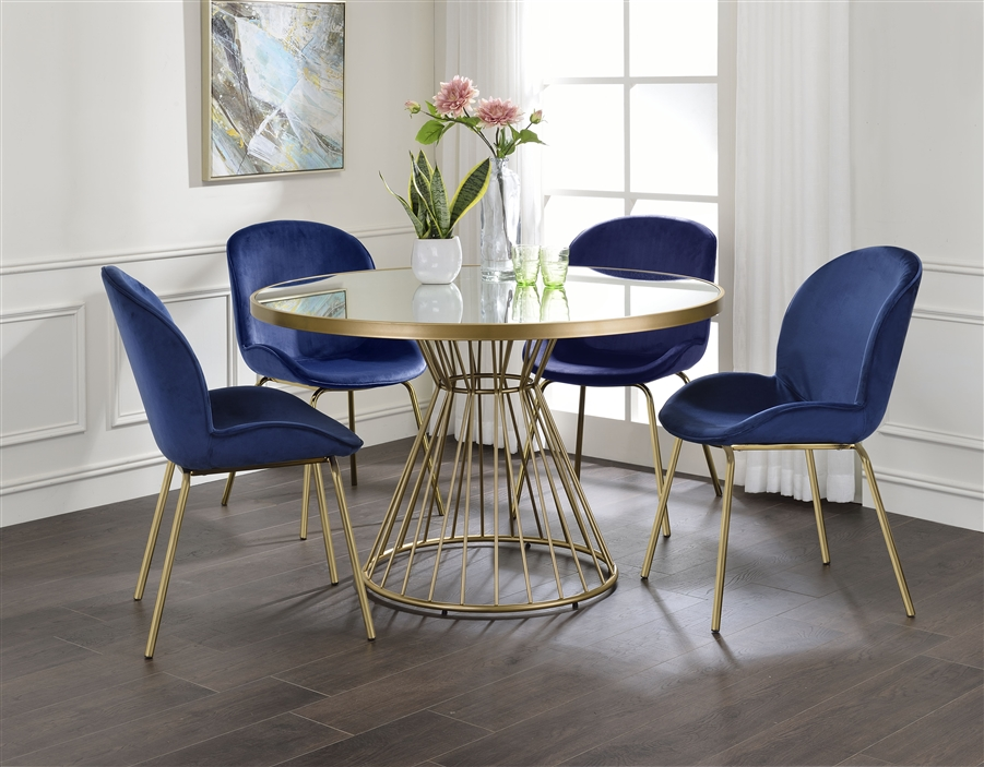 Chuchip 5 Piece Round Table Dining Room, Round Dining Table Set For 5 Chairs