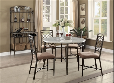 Aldric 5 Piece Round Table Dining Room Set in Antique Black Finish by Acme - 73000