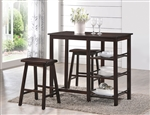 Nyssa 3 Piece Counter Height Dining Set in Walnut Finish by Acme - 73050