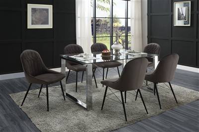 Abraham 7 Piece Dining Room Set in Dark Gray Fabric, Clear Glass & Chrome Finish by Acme - 74015