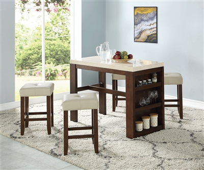 Avita 5 Piece Counter Height Dining Set in Cherry Finish by Acme - 74760