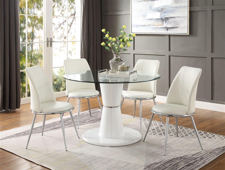 Kavi 5 Piece Round Table Dining Room Set In Clear Glass White High Gloss Finish By Acme 74935