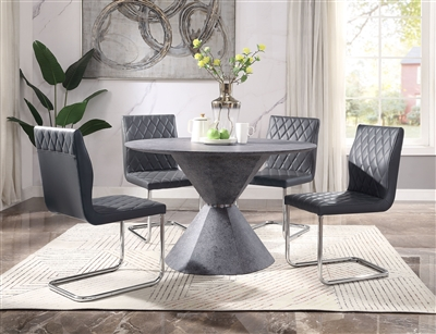Ansonia 5 Piece Round Table Dining Room Set in Gray PU & Faux Concrete Finish by Acme - 77830