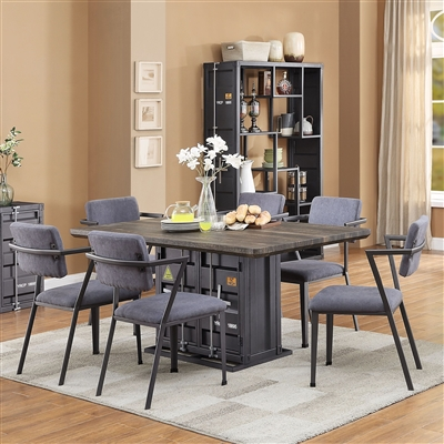 Cargo 7 Piece Dining Room Set in Antique Walnut & Gunmetal Finish by Acme - 77900