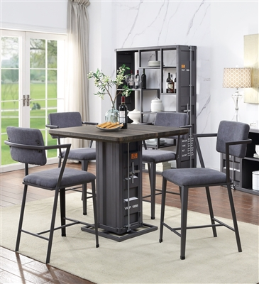 Cargo 5 Piece Counter Height Dining Set in Antique Walnut & Gunmetal Finish by Acme - 77905
