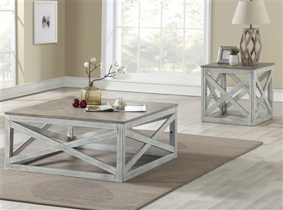 Avianna 3 Piece Occasional Table Set in Gray Oak & Antique White Finish by Acme - 81265-S