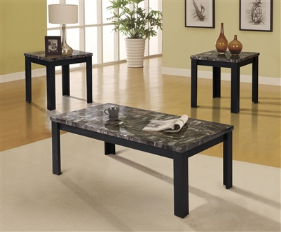 Carly 3 Piece Occasional Table Set in Faux Marble & Black Finish by Acme - 81404-S