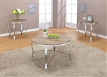 Malai 3 Piece Occasional Table Set in Weathered Light Oak & Chrome Finish by Acme - 81705-S