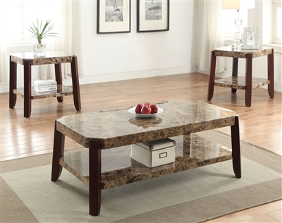 Dacia 3 Piece Occasional Table Set in Faux Marble & Brown Finish by Acme - 82125-S