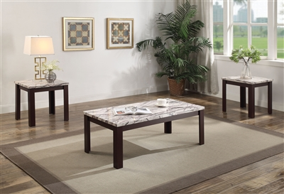 Carly 3 Piece Occasional Table Set in Light Brown Faux Marble & Cherry Finish by Acme - 82132-S