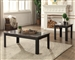 Arabia 2 Piece Occasional Table Set in Black Faux Marble & Black Finish by Acme - 82134-S
