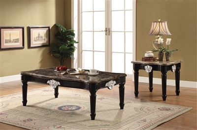 Ernestine 3 Piece Occasional Table Set with Marble Top by Acme - 82150-S