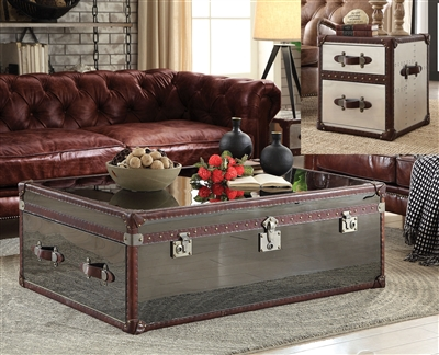 Aberdeen 3 Piece Occasional Table Set in Vintage Dark Brown Top Grain Leather & Stainless Steel Finish by Acme - 82290-S
