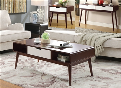 Christa 3 Piece Occasional Table Set in Espresso & White Finish by Acme - 82850-S