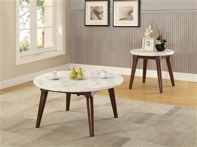 Gasha 3 Piece Occasional Table Set in White Marble & Walnut Finish by Acme - 82890-S