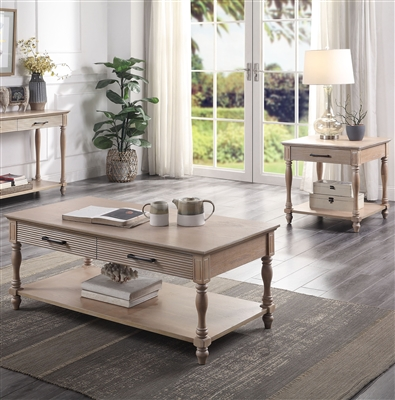 Ariolo 3 Piece Occasional Table Set in Antique White Finish by Acme - 83220-S