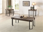 Gilda 3 Piece Occasional Table Set in Weathered Dark Oak & Black Finish by Acme - 84570-S