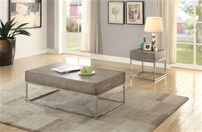 Cecil II 3 Piece Occasional Table Set in Gray Oak & Chrome Finish by Acme - 84580-S