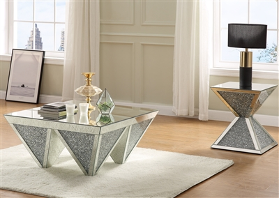 Noralie 3 Piece Occasional Table Set in Mirrored & Faux Diamonds Finish by Acme - 84900-S