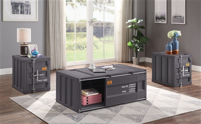 Cargo 3 Piece Occasional Table Set in Gunmetal Finish by Acme - 87885-S