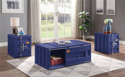 Cargo 3 Piece Occasional Table Set in Blue Finish by Acme - 87890-S