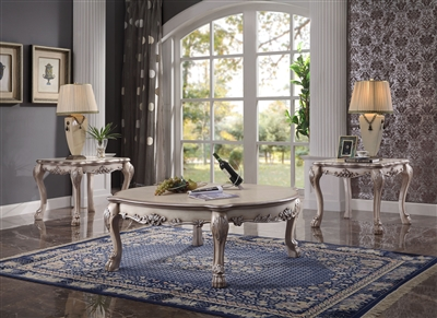 Dresden 3 Piece Occasional Table Set in Vintage Bone White Finish by Acme - 88170-S