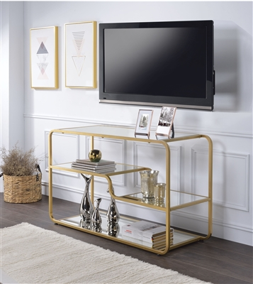 Astrid 50 Inch TV Console in Gold & Mirror Finish by Acme - 91395
