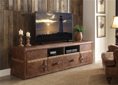 Aberdeen 80 Inch TV Console in Retro Brown Top Grain Leather Finish by Acme - 91500