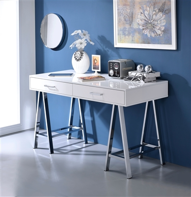 Coleen Executive Home Office Desk in White High Gloss & Chrome Finish by Acme - 92229