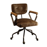 Hallie Office Chair in Vintage Whiskey Top Grain Leather Finish by Acme - 92410
