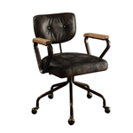 Hallie Office Chair in Vintage Black Top Grain Leather Finish by Acme - 92411