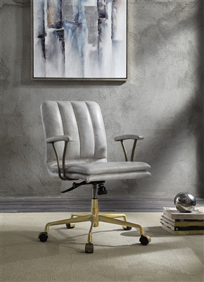 Damir Office Chair in Vintage White Top Grain Leather & Chrome Finish by Acme - 92422
