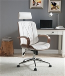Yoselin Office Chair in White PU & Walnut Finish by Acme - 92513