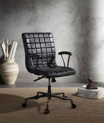 Barack Office Chair in Vintage Black Top Grain Leather & Aluminum Finish by Acme - 92557