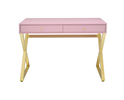 Coleen Executive Home Office Desk in Pink & Gold Finish by Acme - 92612