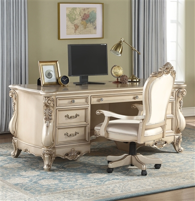 Gorsedd Executive Home Office Desk in Antique White Finish by Acme - 92740