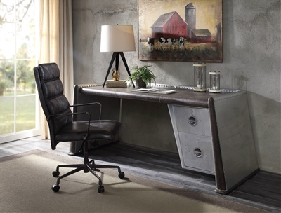 Brancaster Executive Home Office Desk in Distress Chocolate Finish by Acme - 92855