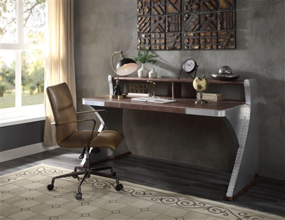 Brancaster Executive Home Office Desk in Retro Brown Finish by Acme - 92857