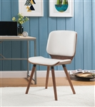 Nemesia Accent Chair in White PU & Walnut Finish by Acme - 96098
