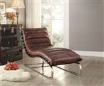 Qortini Chaise in Vintage Dark Brown Top Grain Leather & Stainless Steel Finish by Acme - 96670