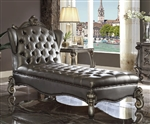 Versailles Chaise in Silver PU & Antique Platinum Finish by Acme - 96825