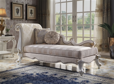 Picardy Chaise in Fabric & Antique Pearl Finish by Acme - 96910